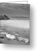 Beach Landscapes Greeting Cards - White stone Greeting Card by Guido Montanes Castillo