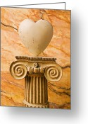Pillar Greeting Cards - White stone heart on pedestal Greeting Card by Garry Gay