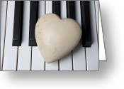 Composing Greeting Cards - White Stone Heart On Piano Keys Greeting Card by Garry Gay