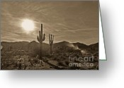 2hivelys Art Greeting Cards - White Tanks Sunset 2 Sepia Greeting Card by Methune Hively