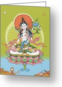 Mantrayana Greeting Cards - White Tara Greeting Card by Carmen Mensink