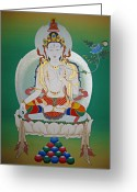 Thanka Greeting Cards - White Tara Greeting Card by Sergey Noskov