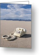 Mud Greeting Cards - White Telephone on Dried Mud Greeting Card by Thom Gourley/Flatbread Images, LLC