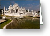 Wat Digital Art Greeting Cards - White Temple Greeting Card by Adrian Evans
