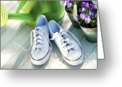 Sneakers Greeting Cards - White tennis running shoes Greeting Card by Sandra Cunningham
