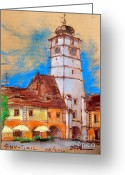 Tour Pastels Greeting Cards - White Tour In Sibiu Greeting Card by EMONA Art