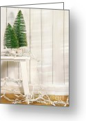 Xmas Greeting Cards - White tree lights  Greeting Card by Sandra Cunningham