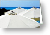 Beach Scenes Greeting Cards - White Umbrellas Greeting Card by Karen Wiles