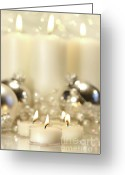 Shimmer Greeting Cards - White votive candles  Greeting Card by Sandra Cunningham