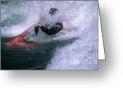 Alberta Foothills Landscape Greeting Cards - White Water Kayaker Greeting Card by Bob Christopher