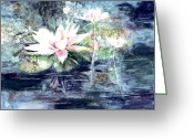 Lily Pad Greeting Cards Greeting Cards - White  water lillies Greeting Card by Sharon K Wilson