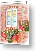 Vertical Painting Greeting Cards - White-window Greeting Card by Carlos G Groppa