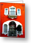 Street Scene Greeting Cards - White Windows by Darian Day Greeting Card by Olden Mexico