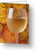 Whites Greeting Cards - White wine and yellow roses Greeting Card by Garry Gay