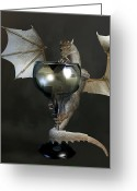 Chest Greeting Cards - White Wine Dragon Greeting Card by Daniel Eskridge