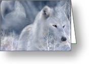 Greeting Card Greeting Cards - White Wolf Greeting Card by Carol Cavalaris