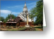 Burma Greeting Cards - Whitewashed Lemyethna temple Greeting Card by RicardMN Photography