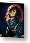 Tom Greeting Cards - Whitney Houston Greeting Card by Tom Carlton