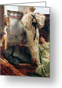 Pensive Greeting Cards - Who Is It Greeting Card by Sir Lawrence Alma-Tadema