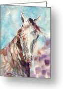 Equine Watercolor Portrait Greeting Cards - Who Me Greeting Card by Mary Armstrong