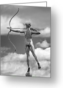 Archer Greeting Cards - Who Needs Cupid 2 monochrome Greeting Card by Steve Harrington