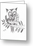 Owl Drawings Greeting Cards - Who Says the Owl Greeting Card by Paula Dickerhoff