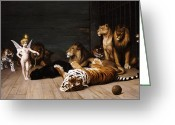 Lions Painting Greeting Cards - Whoever you are Here is your Master Greeting Card by Jean Leon Gerome
