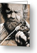 Old Face Greeting Cards - Whole Life for Music Greeting Card by Natasha Denger
