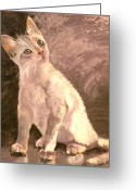 Pet Portrait Drawings Greeting Cards - Whole Lotta Lovin Greeting Card by Susan A Becker