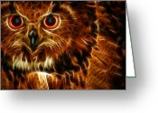 Owl Digital Art Greeting Cards - Whoo Greeting Card by Joetta West