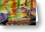 Reptiles Painting Greeting Cards - Whos for Lunch Greeting Card by Maria Barry