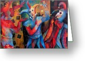 Masks Greeting Cards - Whos The Fool. Greeting Card by Susanne Clark