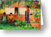 Gauguin Greeting Cards - Why are you angry Greeting Card by Pg Reproductions