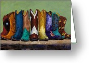 Western Painting Greeting Cards - Why Real Men Want to be Cowboys Greeting Card by Frances Marino