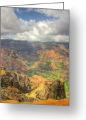 Greaves Greeting Cards - Wiamea Canyon Portrait Greeting Card by John  Greaves