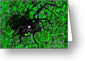 Spider Digital Art Greeting Cards - Wicked Widow - Green Greeting Card by Al Powell Photography USA