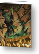 Witches Greeting Cards - Wicked Witch Casting Spell Greeting Card by Martin Davey
