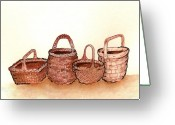 Wicker Baskets Greeting Cards - Wicker Baskets Greeting Card by Nan Wright