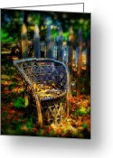 Wicker Chairs Greeting Cards - Wicker Chair Greeting Card by Perry Webster