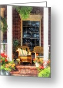 Wicker Chairs Greeting Cards - Wicker Chair With Striped Pillow Greeting Card by Susan Savad