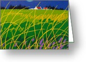 Artist Canvas Painting Greeting Cards - Wicklow Meadow Ireland Greeting Card by John  Nolan