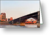 Metropolitan Greeting Cards - Wide view of St Louis and Eads Bridge Greeting Card by Semmick Photo