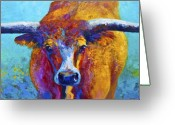 Western Painting Greeting Cards - Widespread - Texas Longhorn Greeting Card by Marion Rose