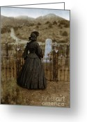 Black Widow Greeting Cards - Widow at the Cemetery Greeting Card by Jill Battaglia