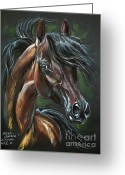 Horse Portrait Pastels Greeting Cards - Wieza Wiatrow Greeting Card by Angel  Tarantella