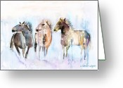Wild Horse Painting Greeting Cards - Wild And Free Greeting Card by Arline Wagner