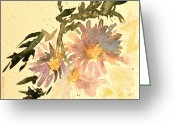 Aster  Painting Greeting Cards - Wild Asters Aged Look Greeting Card by Beverley Harper Tinsley