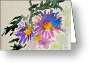 Aster  Painting Greeting Cards - Wild Asters Greeting Card by Beverley Harper Tinsley