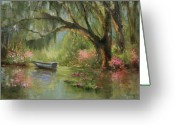 Carolina Painting Greeting Cards - Wild Azaleas Greeting Card by Jane Woodward