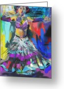 Full Skirt Digital Art Greeting Cards - Wild Belly Dancer Greeting Card by Barbara Kelley